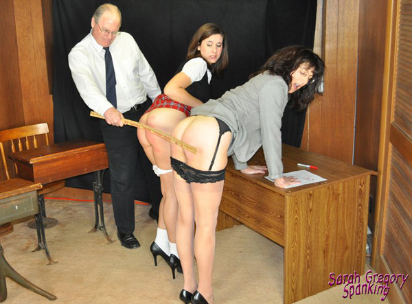 Erica Scott and Sarah Gregory punished together with the ruler by Paul Rogers