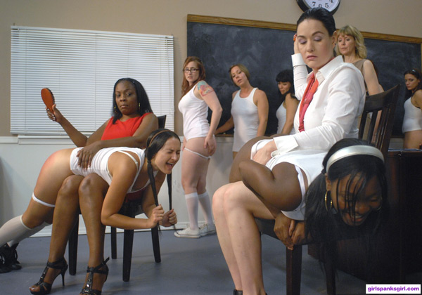 Lana and Snow Mercy spank two naughty ladies in Exclusive Education 6